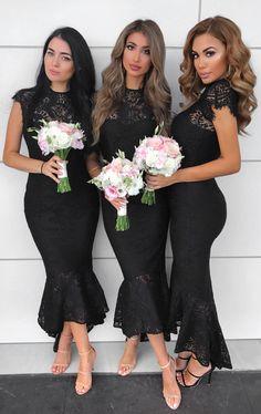 elegant balck lace bridesmaid dress, bodycon mermaid wedding party dress