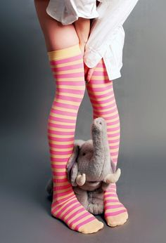 5a9e8cb803c Striped Yellow and Pink OTK socks Thigh High Socks