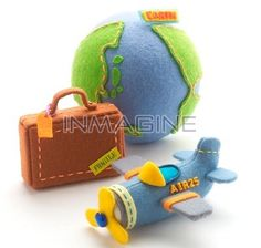 Earth, suitcase, airplane all of them felt all of them adorable!