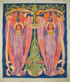 Herbert Granville Fell, The Song of Songs - title page c. 1910 Watercolour on Parchment Art Nouveau Design, Art Deco, Art Nouveau Mucha, Fairytale Fantasies, Digital Museum, Fantasy Illustration, Jessie, Tarot, Fairy Tales