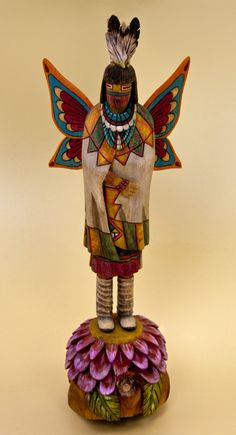 Arizona Butterfly Maiden, A Hopi Katina Figure Carved from Wood (Full View)