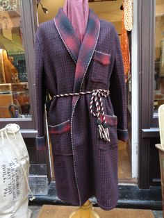 """Vintage 1960s black red shadow plaid wool dressing gown robe 50"""" chest extra thick warm Ivy League Hugh Heffner smoking jacket by TheDustbowlVintage on Etsy https://www.etsy.com/listing/218601528/vintage-1960s-black-red-shadow-plaid"""