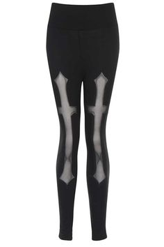 These gorgeous Gothic leggings by Necessary Evil are super soft and stretchy and feature an awesome mesh cross detail which runs from the thighs to the shin.