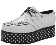 polka dot creepers  pop kei fairy kei pastel goth nu goth harajuku fachin creepers shoes platforms flatforms polka dot plus size shoes plus tuk