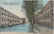 Ohio Postcard MIDDLETOWN Butler County HYDRAULIC Canal Man First St FACTORY 1913