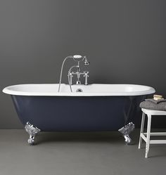 """Our 5-1/2' Double-Ended Clawfoot Tub with White Exterior features cast-iron construction with a porcelain interior -- just like the antiques. But while vintage models mounted faucets on the tub's inner wall, ours mount on the rim, or """"deck,"""" leaving room for more water and a better bathing experience. The hand-smoothed exterior is primed and painted a durable semi-gloss white. * Porcelain over cast iron * Classic ball & claw feet in choice of finish * Feet are boxed separately and must..."""