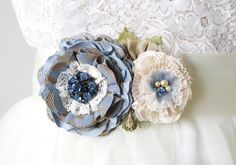 Something Blue for your wedding dress! French Blue flower belt by Rosy Posy Designs