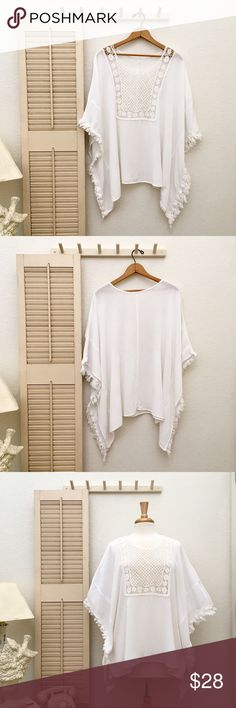 Pop-Over Oversized Poncho Style Boho Crepe Top Large/Extra Large fit. White. In like new condition. Details to be added soon... Tops Tunics