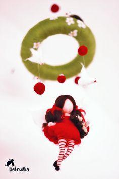 needle felted waldorf inspired mobile/girl von PETRUSKAfairyworld