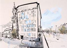 lucinda rogers drawing ink watercolour cityscape london bridge street scene christopher wren thames