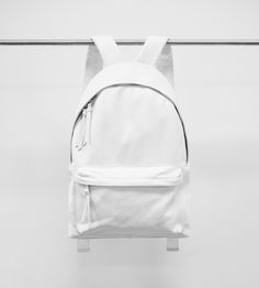 White Leather Backpack by Stamped