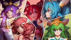 Download wallpaper Star Guardian Jinx, Lux, Janna, Poppy and Lulu full HD on GameWalls.