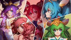 Download wallpaper Star Guardian Jinx, Lux, Janna, Poppy and Lulu full HD on GameWalls.