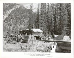 Canadian Pacific 1949 Movie Black White Movie Still Train Men Loading Lumber, $12.95