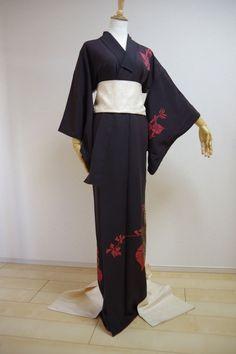 Kimono Dress Japan Geisha costume Vintage fabric Bonus obi S/F KDJM-A0069