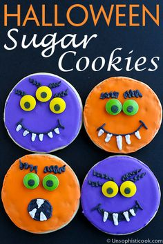 Halloween Sugar Cookies -- cute ghoulish iced cookies that taste great thanks to my favorite sugar cookies recipe! Chocolate Chip Cookies, Pumpkin Sugar Cookies, Halloween Sugar Cookies, Fall Cookies, Iced Cookies, Halloween Cakes, Sugar Cookies Recipe, Easy Halloween, Halloween Treats
