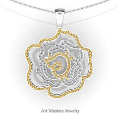 Classic 14K White Gold Yellow Citrine Diamond Rose Promise Pendant and Necklace Chain P101M-14KWGDYCI