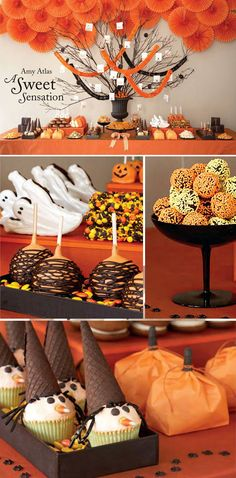Cute Halloween desserts! Halloween Dessert Table, Halloween Desserts, Halloween Goodies, Halloween Treats, Halloween Decorations, Fall Treats, Orange Decorations, Halloween Cupcakes, Easy Halloween Food