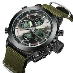 Fashion Army Cool Men Military Watch Canvas Strap Hours Steel Case Waterproof Stop. Fashion Army Cool Men Military Watch Canvas Strap Hours Steel Case Waterproof Stop. Sport Watches, Cool Watches, Watches For Men, Wrist Watches, Cheap Watches, Stylish Watches, Mode Cool, Tactical Watch, Timex Watches
