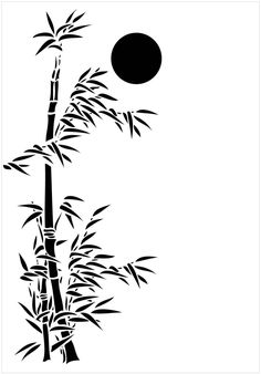 Bamboo and Water Swirls Stencil - Henny Donovan Motif Stencils, Stencil Fabric, Stencil Art, Stencil Designs, Designs To Draw, Architectural Trees, Bamboo Tattoo, Moss Plant, Moss Wall Art
