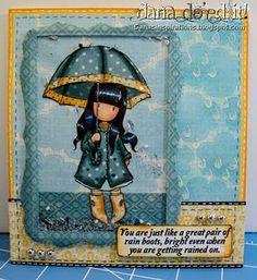 Umbrella girl using Copic markers.
