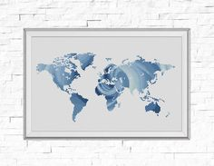 Steampunk world map modern blackwork cross stitch pattern map cross stitch pattern world map silhouette rose flower counted cross stitch gumiabroncs Image collections
