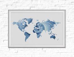 BOGO GRATUIT! Carte motif point de croix, fleur Rose au monde carte Silhouette compté point de croix tableau décor moderne PDF Téléchargement instantané #025-17-2 par StitchLine sur Etsy https://www.etsy.com/fr/listing/467073883/bogo-gratuit-carte-motif-point-de-croix