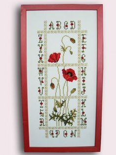 fleur- flower - plant - broderie - embroidery - coquelicot - Point de croix - Blog : http://broderiemimie44.canalblog.com/