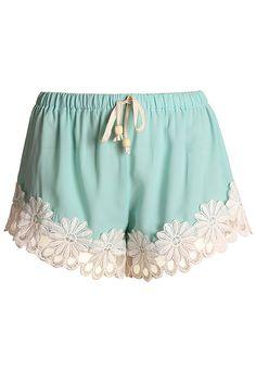 Daisy Embroidery Shorts (Mint Green) | IWEARSIN