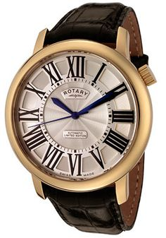 Rotary   Men's Automatic Gold Tone Case Silver Guilloche Dial Black Leather