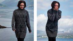 Et lille twist på den traditionelle sømandssweater, nu som lang, feminin trøje strikket i blød alpakauld og silkemohair. Mønsteret Sjeystjørna betyder syvstjerne, antageligt fordi den består af syv små stjerner sat sammen i romber.