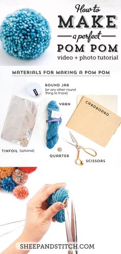 This pom pom tutorial will show you how to make a perfect pom pom every time. Make an easy diy pom pom using household objects. Watch our video tutorial and photo guide for detailed instructions Pom Pom Tutorial, Diy Tutorial, Pom Pom Crafts, Yarn Crafts, Diy Crafts, Costura Diy, Pom Pom Maker, How To Make A Pom Pom, Crafts For Teens To Make