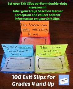 Get two assessments with one Exit Slip. Label your baskets based on learner perception and your choose your Exit Slips to assess content.