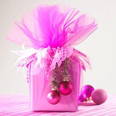 Pretty Hot Pink Christmas Wring With Tulle Ribbons And Small Ornaments
