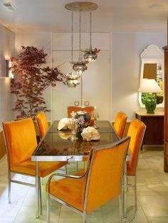 Orange dining chairs are fabulous! Jamie Bush & Co. designer