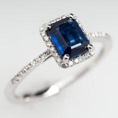 Emerald Cut Sapphire Diamond Halo Engagement Ring 18K White Gold #saphirering