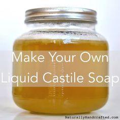 Diy Shampoo, Castile Soap Shampoo, Liquid Castile Soap, Homemade Shampoo, Shampoo Bar, Glycerin Soap, Castile Soap Uses, Homemade Hair, Diy Soap Liquid