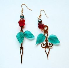 Steampunk Clock Hand Earrings  Roses with Aqua by mannequinreject
