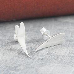 Curved Heart Sterling Silver Stud Earrings