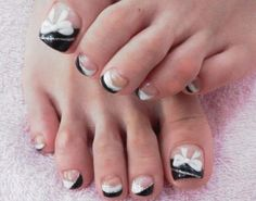 Ribbon toe nails -30+ #Toe #Nail #Designs    |Uploaded by: | Fashionista-Princess-Jewelry.com | Http://stores.ebay.com/Fashionista-Princess-Jewelry