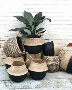 Modern hand-woven black natural foldable sea grass belly basket/ wedding giftWholesales bulk/laundry picnic storage basket/Mother's Day gift – Jüt ip sepet – Korb Plant Basket, Plant Bags, Belly Basket, Mother's Day Gift Baskets, Christmas Baskets, Aesthetic Room Decor, Diy Home Crafts, Crochet Home, Decoration Table