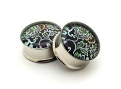 Japanese Flower Picture Plugs gauges - 00g, 1/2, 9/16, 5/8, 3/4, 7/8, 1 inch STYLE 10. $19.99, via Etsy.
