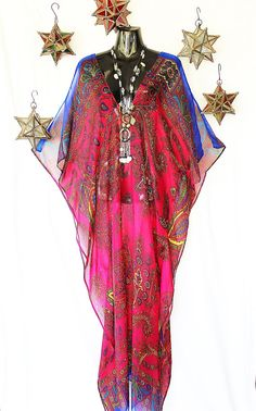 Deep Pink Paisley Pure Silk Chiffon Kaftan by by MollyKaftans, $169.00