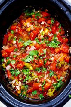 Slow Cooker Restaurant Style Garden Salsa Slow Cooker Appetizers, Slow Cooker Recipes, Appetizer Recipes, Crockpot Recipes, Cooking Recipes, Healthy Recipes, Keto Recipes, Vegetarian Recipes, Fresh Salsa Recipe