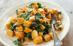Butternut Squash with Wilted Spinach and Blue Cheese (side dish, serve w/ pork tenderloin or pork chops)