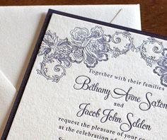 lace letterpress wedding invitation by invitations by ajalon - Adora