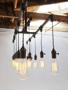 Industrial Vintage Cloth Cord & Rustic Pipe Metal Chandelier, Industrial eclectic chandeliers