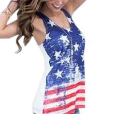 NEW Summer Tee American Flag Printed T Shirt 2017 T-shirtSleeveless Women Tops Loose Casual O-neck Striped Stars Shirts  LX325
