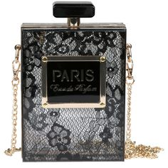 Lace Perfume Bottle Clutch- FINAL SALE ($39) ❤ liked on Polyvore featuring bags, handbags, clutches, lace, black purse, lace purse, see through purse, transparent clutches and clear handbags