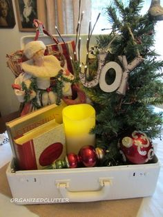 Stack Christmas books in a centerpiece